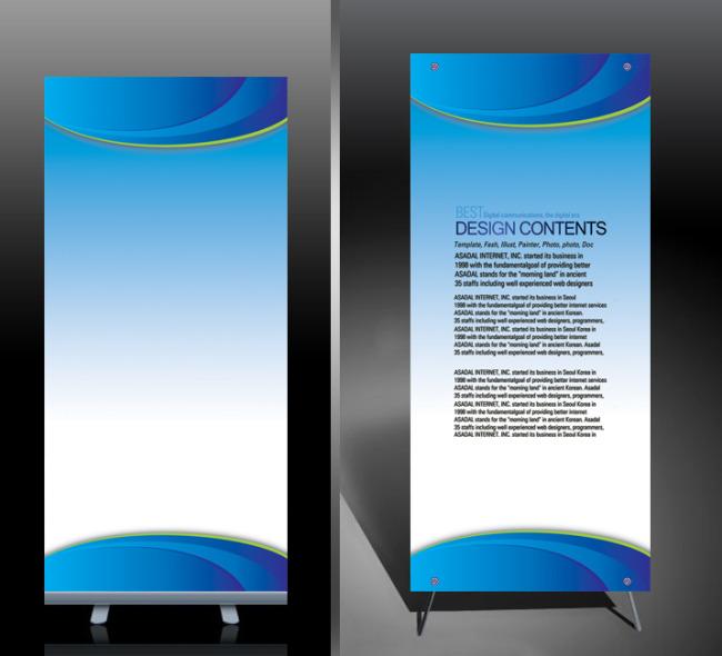 【psd】蓝色科技x展架设计 易拉宝设计图片