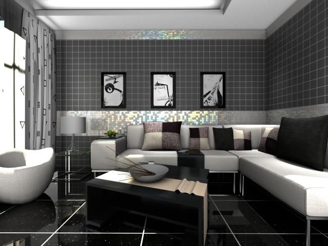 室内设计 高模 家装 前卫风格 现代风格 简约风格 黑白灰系类 客厅