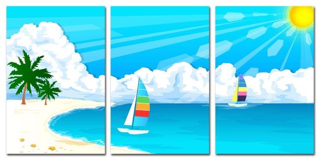 卡通无框画 儿童房无框画 海边风景 阳光 岛屿 帆船 贝壳 沙滩 椰子树