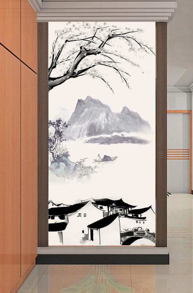 【psd】水墨画国画山水风景画玄关背景墙