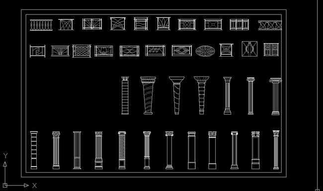 【】欧式柱子cad立面图库中式栏杆护栏