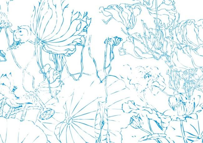 花纹插画 > 曼妙莲叶小麻雀绘画  关键词: 手工画 矢量 素材 绘画