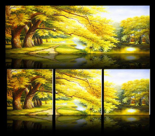 【psd】黄金树风景画无框画