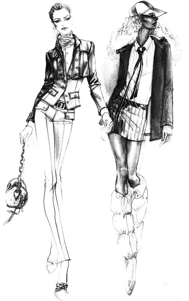 服装设计 服装手绘稿 女装原稿 手绘原稿 素描稿 手绘稿 线描稿 色彩