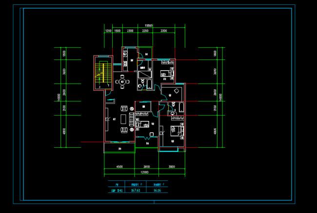 三室二厅户型CAD图纸