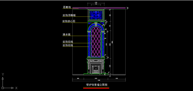 【】室内装修欧式壁炉背景墙cad图纸设计下载