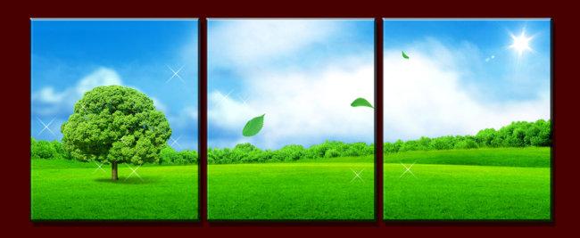 树 草地 绿地 阳光 叶子 蓝天 天空 白云 树林 说明:风景无框画模板