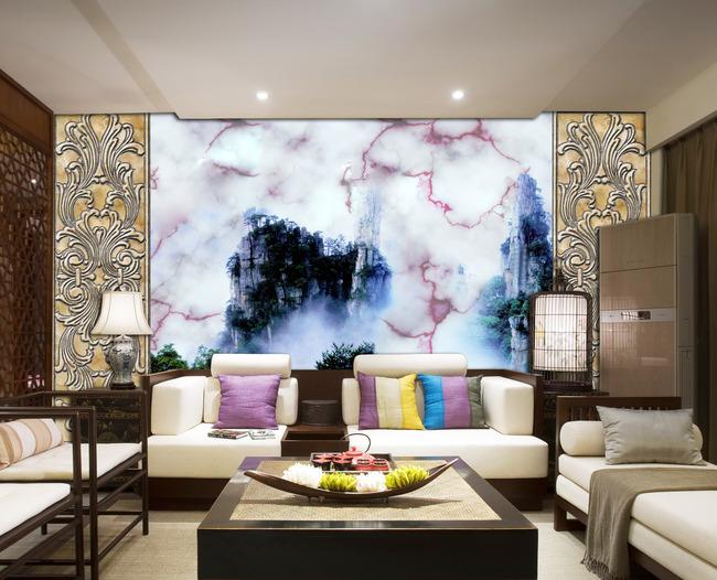 电视墙欧式石材雕花
