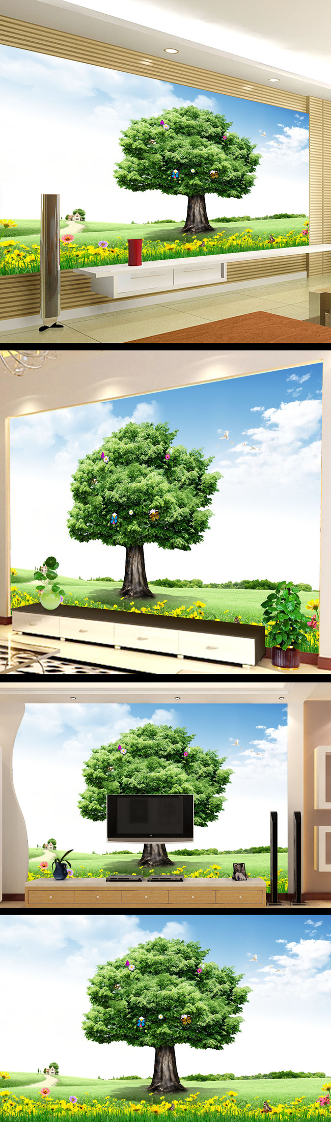 墙画 壁纸 psd 春天 春季 草地 大树 草坪 花 说明:春季大树风景画
