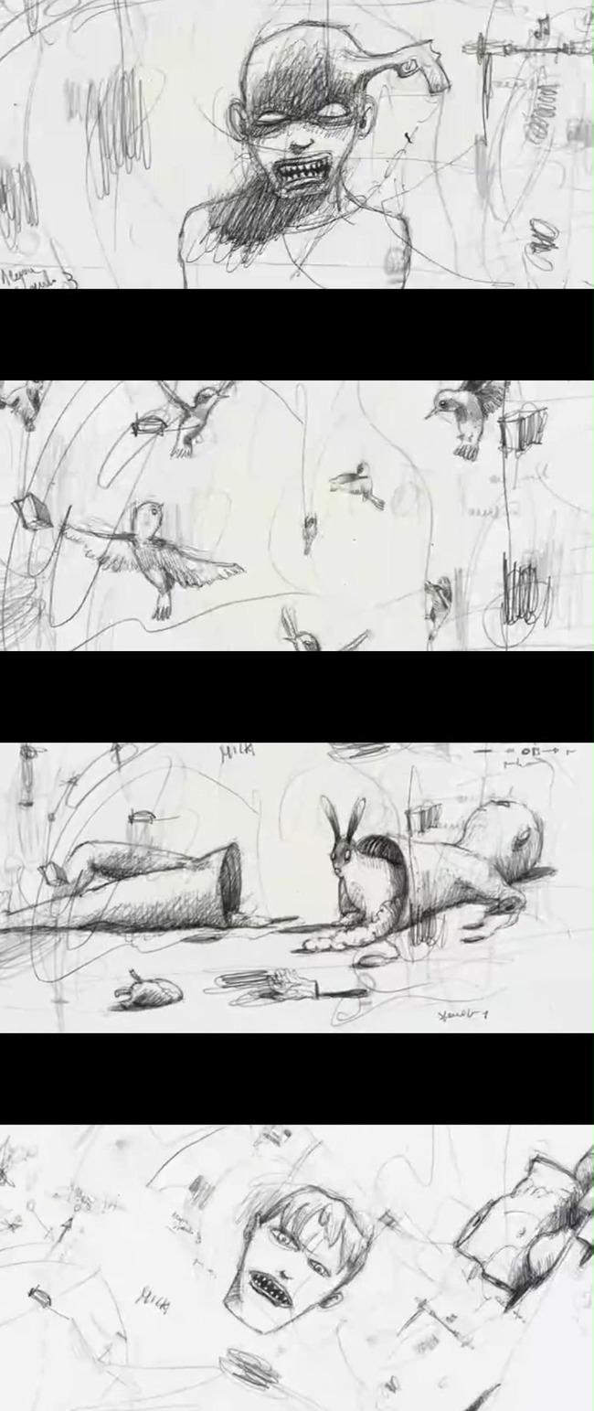 抽象素描涂鸦动画人与自然
