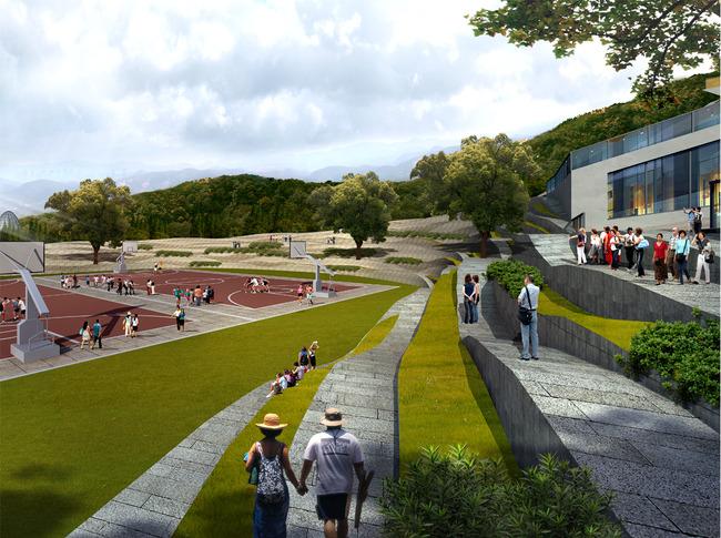 学校篮球场景观设计效果图图片