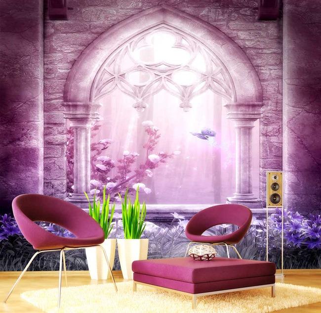 花朵电视沙发客厅背景  关键词: 梦幻 大门 欧式 哥特 拱门 花朵 花卉