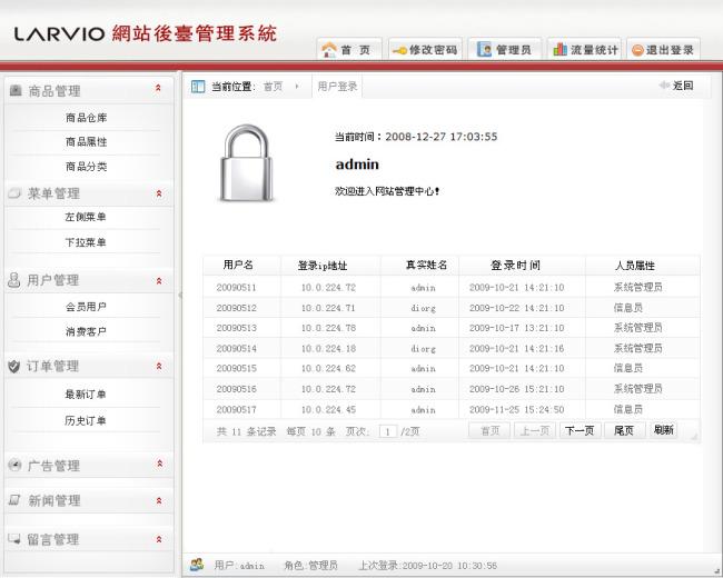 【psd】全套商城网站后台管理系统 网站管理页面