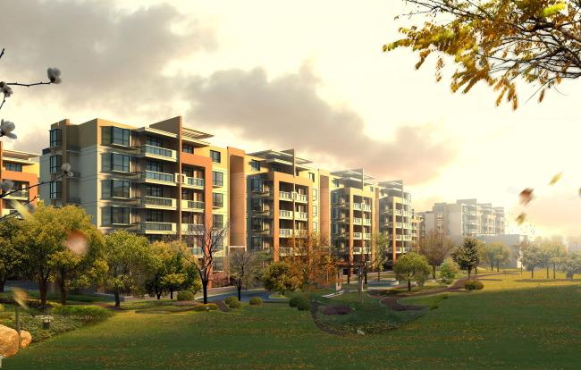 建筑效果图 房地产 建筑外立面效果图 多层 联排单体 欧式建筑 现代
