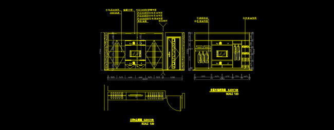卧室电视背景墙立面图 卧房电视墙施工图设计 卧室设计图 衣柜施工