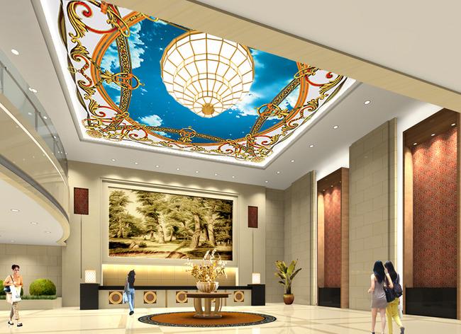 豪华吊顶壁画 宾馆吊顶壁画 商场吊顶壁画 客厅吊顶壁画 星空 欧式