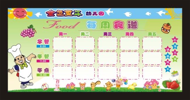 幼儿每周食谱图片下载 学校 幼儿园 展板 模板 每周食谱 矢量 cdr