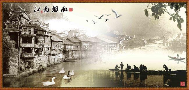 【psd】江南烟雨(山水风景画)