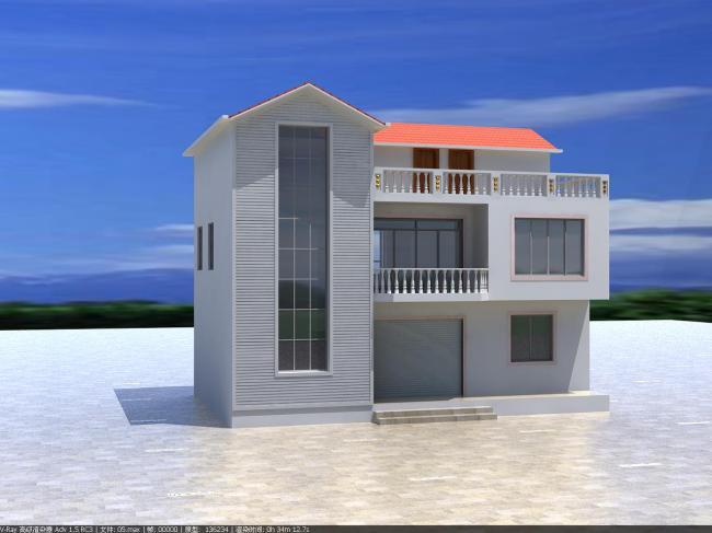 室外模型 > 农村小别墅方案  关键词: 农村 别墅 室外 建筑 房屋 三层