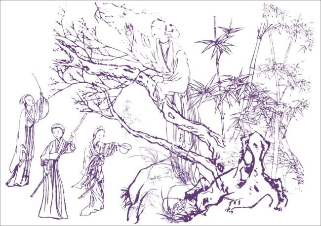 原创专区 插画|素材|元素 人物插画 > 古代美人摘果子-工笔画  竹林