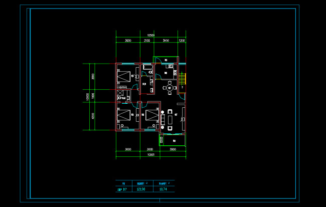 三室两厅设计平面图 三室两厅客厅装修设计图 说明:三室二厅户型cad