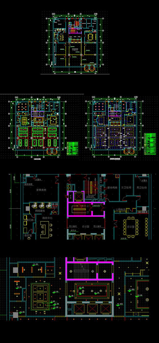 关键词: 五层总平面布置图 天花图 地面铺装图 五层总照明电路控制