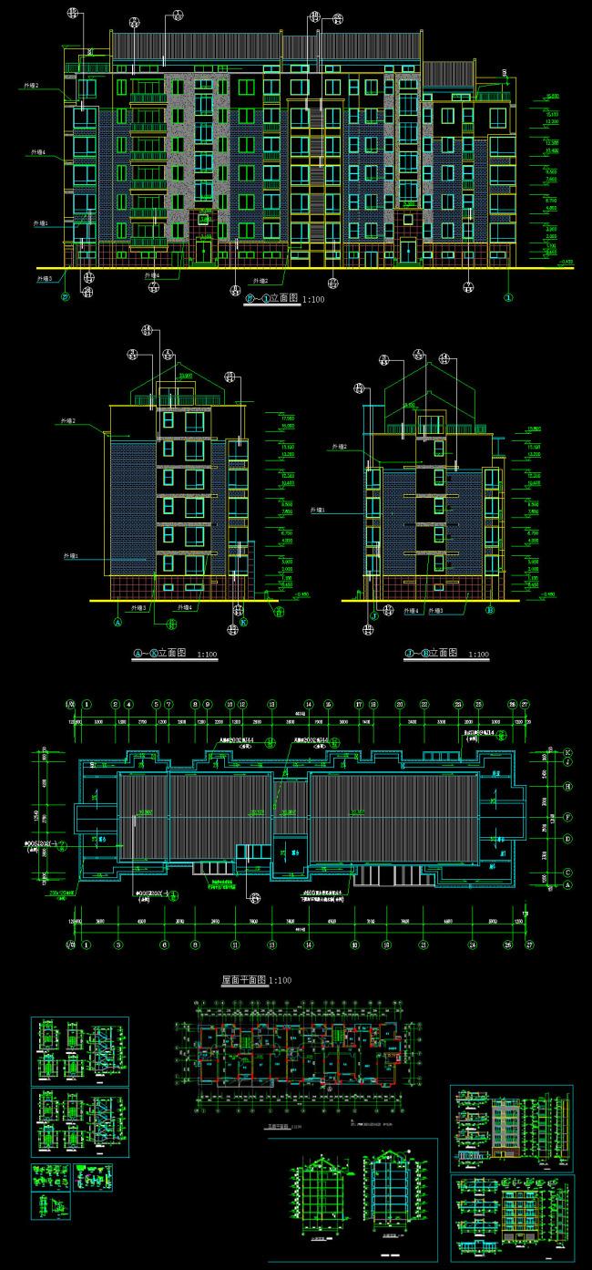 关键词: 多层住宅施工图 多层住宅建筑施工图 单元式多层住宅施工图