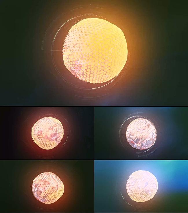 【】特效炫丽发光科技感球体柔动循环视频