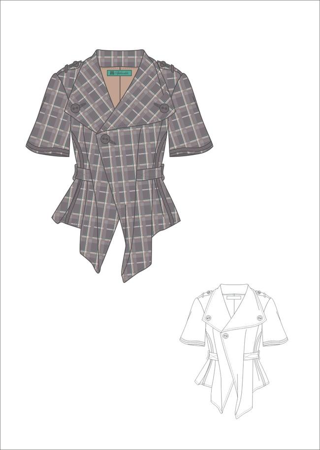 女装设计 上衣设计 女士半袖设计 手稿 女士夏季外套设计 说明:女装