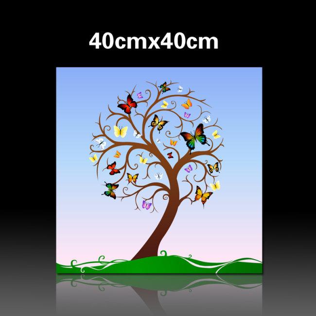 【ai】蝴蝶树无框装饰画ai矢量图片模板下载