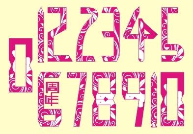 阿拉伯数字0 10及周年艺术字体图片
