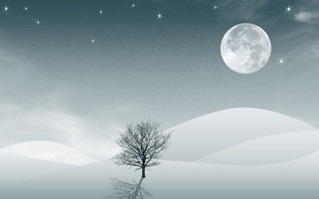 【psd】沙漠-树-月球艺术海报背景素材
