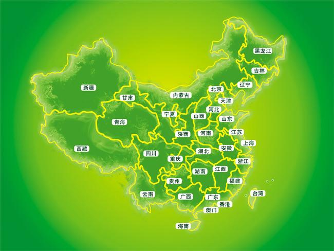 【】绿色高清中国地图