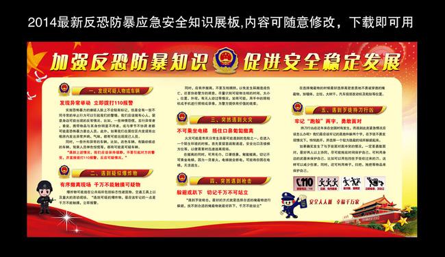 应急预案宣传栏_【】反恐防暴应急预案处置安全知识宣传展板_图片编号 ...