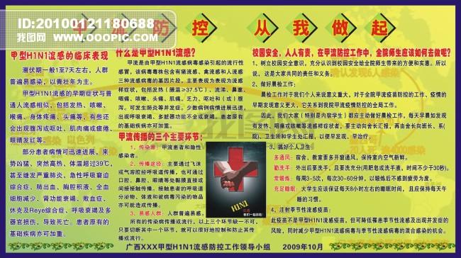 预防甲型流感知识宣传板报矢量图图片