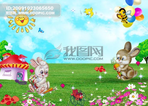 大树 卡通太阳 蜜蜂 小鸟光线 分层 可爱 童趣 童真 说明:小兔子童话