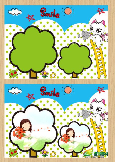 【psd】可爱小树儿童相册模板