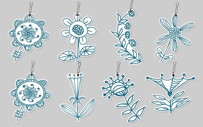 【psd】八款手绘花朵书签psd下载