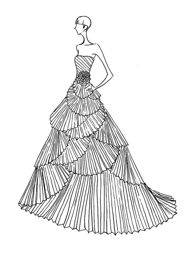 服装手绘款式图 服装设计 服装款式搭配 手绘 服装设计手稿 婚礼 礼服
