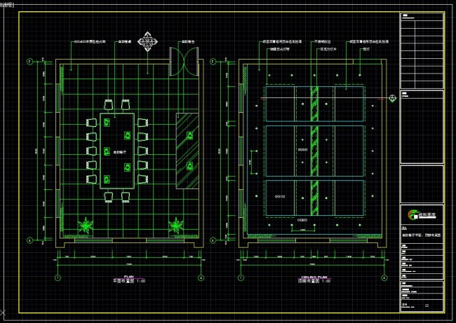 招待所CAD自助餐厅平面 顶棚布置图
