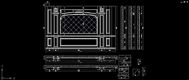 立面图 电视背景设计 图纸下载 效果图 说明:别墅床头背景卧室背景墙