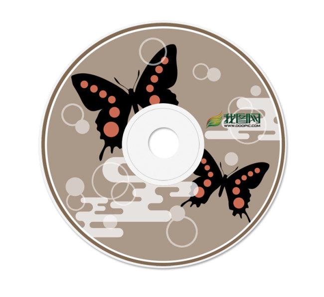 原创专区 新年礼品|包装设计模板 光盘设计|光盘封套 > 和风黑蝴蝶cd