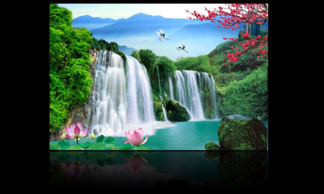 【psd】高山流水瀑布风景画