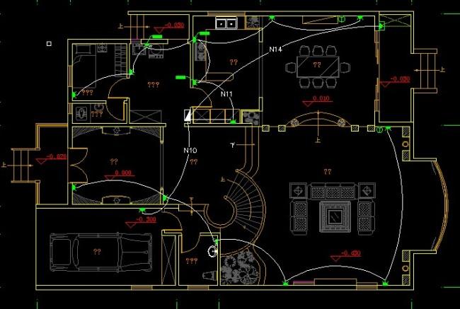 【dwg】别墅电线线路图图纸设计