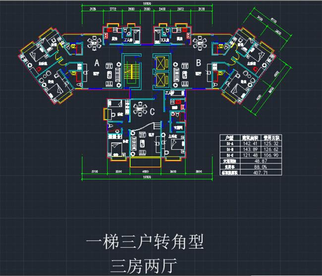 室内设计 户型图 立面图 剖面图 源文件 住宅户型 说明:一梯三户转角