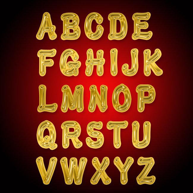 金属质感 金属字 金属材质 黄金字母 说明:psd高清英文字母艺术字设计