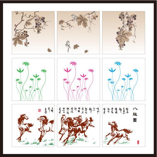 室内装饰|无框画|移门 无框画 > 无框画系列-10  水墨画 葡萄 鸟 马