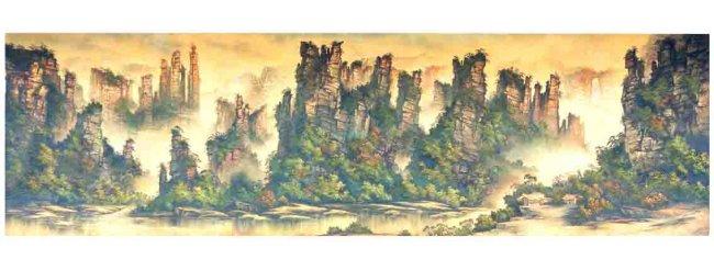 【psd】张家界风景画油画壁画
