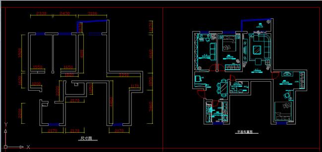室内装修小户型CAD施工图纸设计