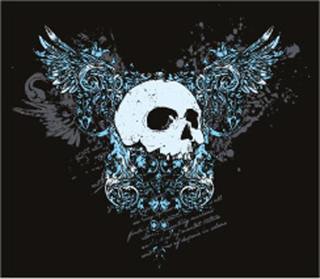 素材 矢量潮流图案 骷髅头 复古 翅膀 欧式设计 说明:服装印花图案